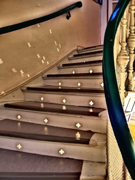 Treppe Jasperallee am Abend